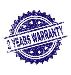 Grunge textured 2 years warranty stamp seal vector