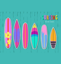 hand drawn set of surfboards 2 vector image
