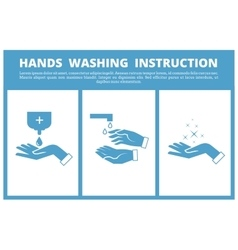 Hands washing medical instruction vector