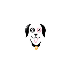 happy cute dog wearing collar with bells and vector image