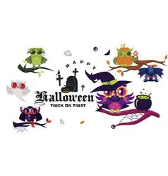 Happy halloween flat set vector