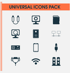 Hardware icons set with audio speaker music vector