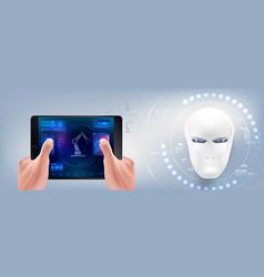 Head cyborg creation artificial vector