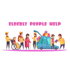 help elderly people banner vector image