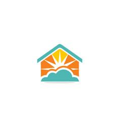 Home realty sun shine cloud logo vector
