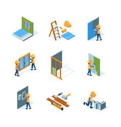 home renovation worker installation new floor vector image