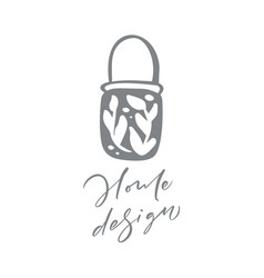 hygge floral logo hand drawn icon flower vector image