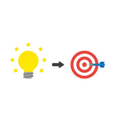 Icon concept of glowing light bulb with bulls eye vector