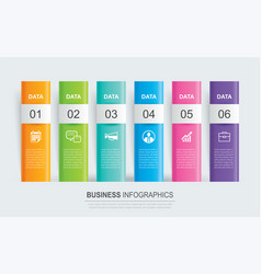Infographics tab paper index with 6 data template vector