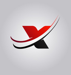 Initial x letter logo with swoosh colored red and vector
