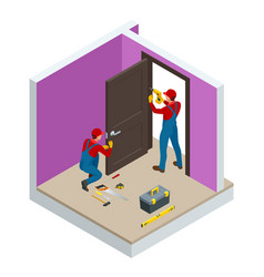 isometric handymans installing a white door with vector image
