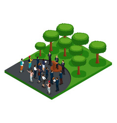 Isometric meeting the president with voters vector
