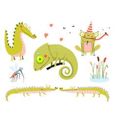 Lizard frogs alligators and crocodiles swamp vector