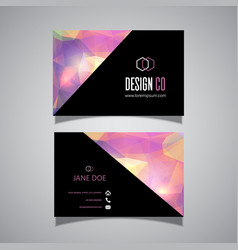Low poly business card design vector