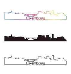 Luxembourg skyline linear style with rainbow vector