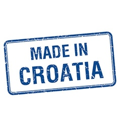 made in Croatia blue square isolated stamp vector image