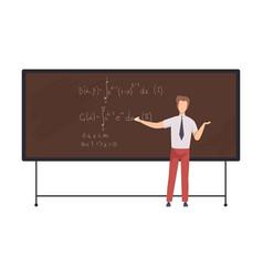 Male math teacher professor teaching students vector