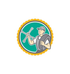 Mechanic With Tire Wrench Rosette Cartoon vector