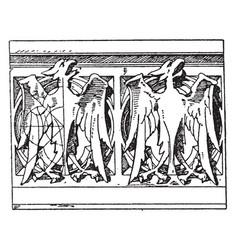 modern gothic parapet roof vintage engraving vector image