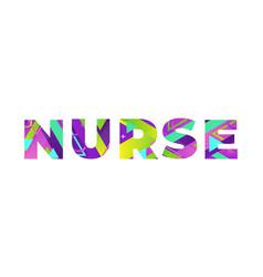 Nurse concept retro colorful word art vector