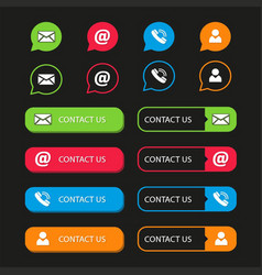 Pack of contact buttons vector