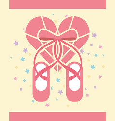 pink ballet pointe shoes diamond shape heart vector image