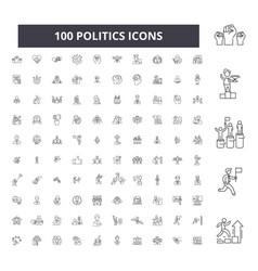 Politics editable line icons 100 set vector