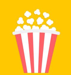 popcorn icon big red white strip box cinema movie vector image