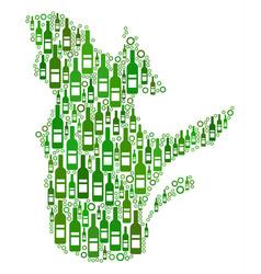Quebec province map composition of wine bottles vector