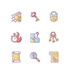 Quest rgb color icons set vector
