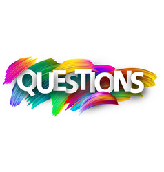 Questions sign with colorful brush strokes vector