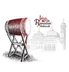 Ramadan mubarak with traditional drum and mosque vector