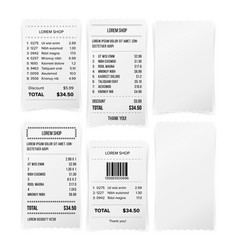 Sales printed receipt white empty paper blank vector