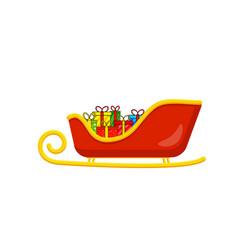 santa sleigh with presents for christmas design vector image
