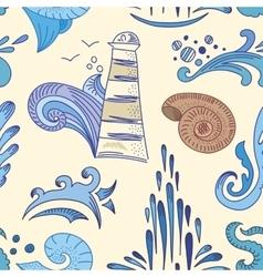 Sea Sketch Pattern vector image vector image