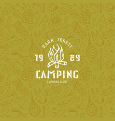 seamless pattern and camping emblem vector image