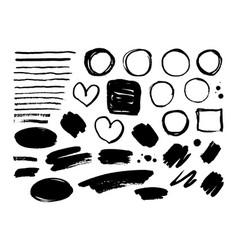 set ink brush strokes frames lines vector image