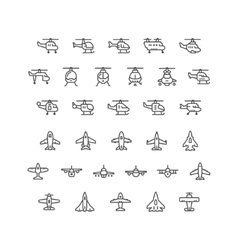 Set line icons helicopters and planes vector