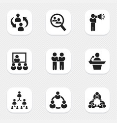 set of 9 editable community icons includes vector image