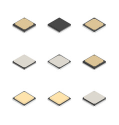 set of different processors in 3d vector image