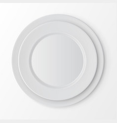 Set of white plates top view table setting vector