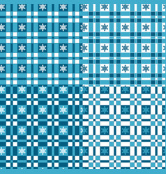 set winter patterns with tartan and snowflakes vector image