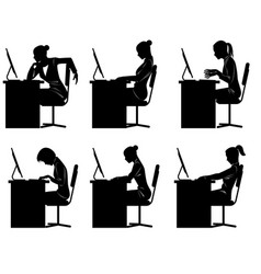 Six businesswomen silhouettes vector