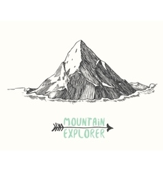 Sketch mountain hand drawn vector