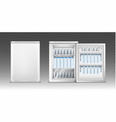 small refrigerator with drinks vector image