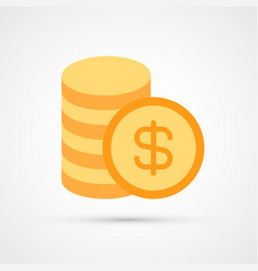 stack coins trendy symbol vector image