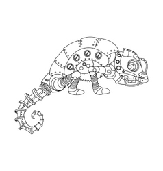 steampunk style chameleon coloring book vector image