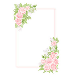 The frame with elegant wild pink roses for vector