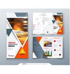 Trifold brochure design orange template for vector