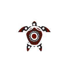 Turtle icon logo design with aboriginal style vector